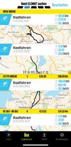 Wahoo Companion Übersicht der absolvierten Radfahrten