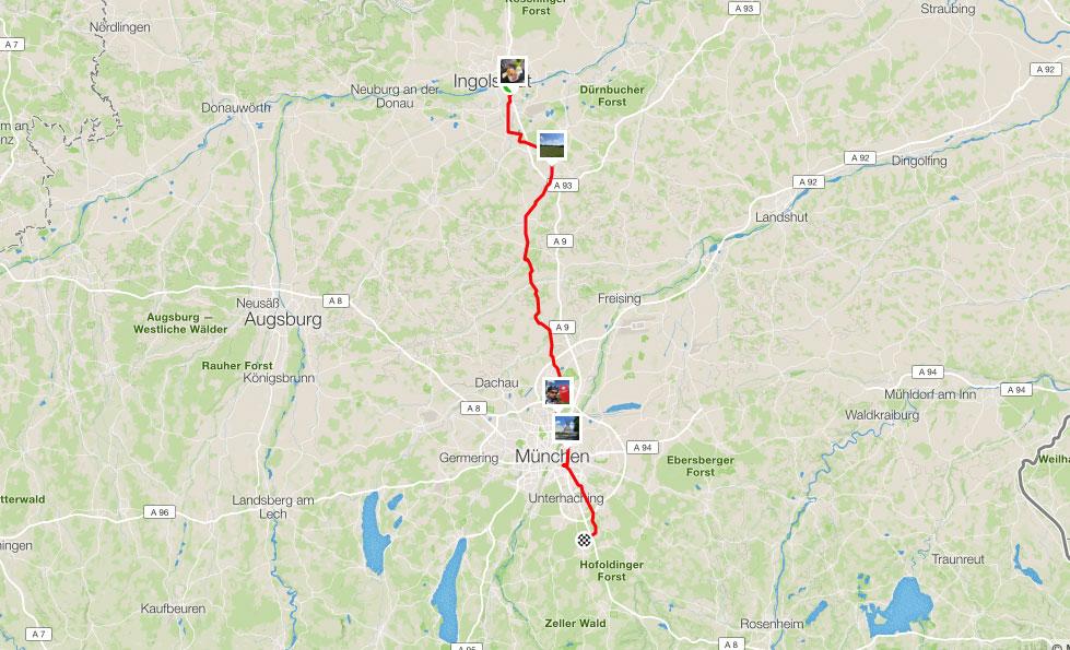 110 km von Ingolstadt nach München