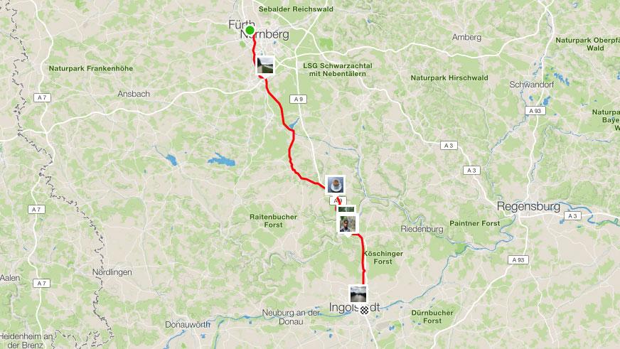 109 km von Nürnberg nach Ingolstadt