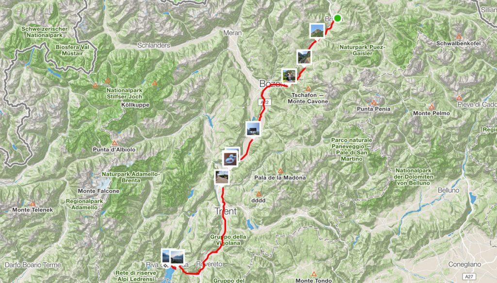 155 km - Von Brixen nach Riva del Garda