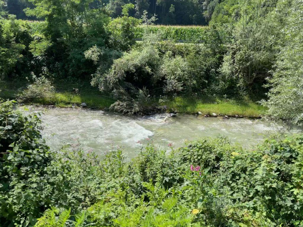 Der Radweg geht meist am Fluss entlang